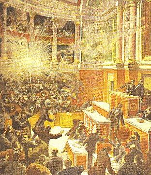 Representación de la explosión provocada por una bomba de August Vaillant, lanzada al parlamento francés el 9 de diciembre de 1893, la cual no provoco ninguna muerte. A pesar de esto, fue enviado a la guillotina.