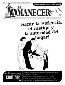 Periodico anarquista El Amanecer, Marzo 2013 Portada