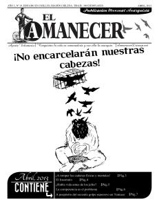 Periodico anarquista El Amanecer, abril 2013, portada
