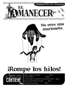 Periodico anarquista El Amanecer, Agosto 2013, portada
