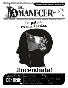 Periódico anarquista El Amanecer, Septiembre 2013, portada