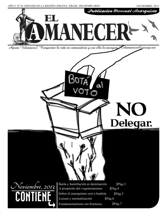 Periódico anarquista El Amanecer, Octubre 2013, portada